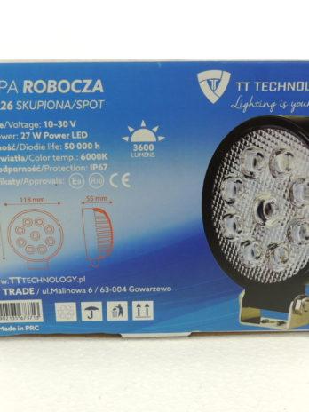 LAMPA ROBOCZA 9 LED TT.13226 OKRĄGŁA 3600 Lm  27W